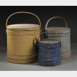 Three Painted Wooden Covered Firkins