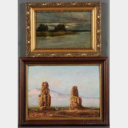 Two Landscapes:      German School, 19th Century, Koloss von Memnon bei Luxor, Morgens  /Colossus of Memnon at Luxor, Morning
