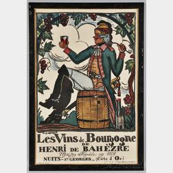 Le Vins de Bourgogne Wine Merchant Advertising Poster, designed by Guy Arnoux, printed by Devambez, Paris, France, c. 1916, chromolit