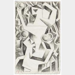 Natalia Sergeevna Goncharova (Russian, 1881-1962)      Two Drawings:  Peasants Gathering Apples