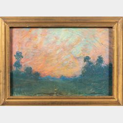 Arthur Clifton Goodwin (American, 1864-1929)      Double-sided Pastel: Salmon-hued Sky Over a Green Field