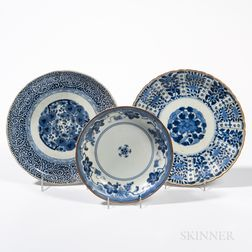 Three Export Blue and White Plates