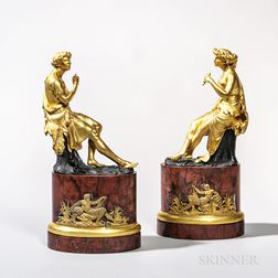 Pair of Gilt-bronze Figures of a Shepherd and Shepherdess