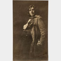 Wilde, Oscar (1854-1900) Signed Contemporary Photograph of an Oscar Wilde Impersonator, San Francisco, c. 1882.