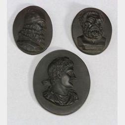 Three Black Basalt Oval Portrait Medallions
