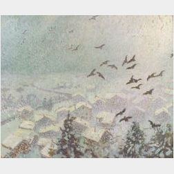 William Samuel Horton (American, 1865-1935)  Blackbirds and Falling Snow