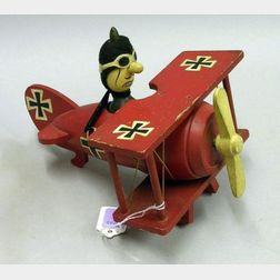 Red Baron Music Box Wooden Airplane