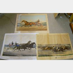 Three Unframed Hand-colored Lithographs and a Currier & Ives Chromolithograph Horse and Trotter Racing Prints