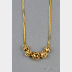 "18kt Gold ""Puffy Cube"" Necklace, Stuart Golder"