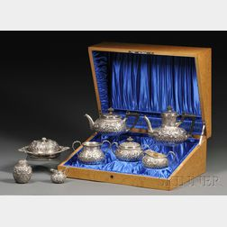Cased Five-piece Gorham Sterling Repoussé Tea and Coffee Service