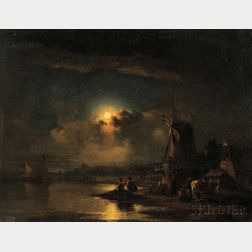 Attributed to John Crome, called Old Crome (British, 1768-1821)      Fishermen Pulling Nets by Moonlight
