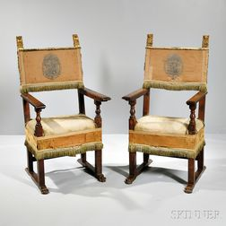 Pair of Parcel-giltwood Renaissance-style Armchairs