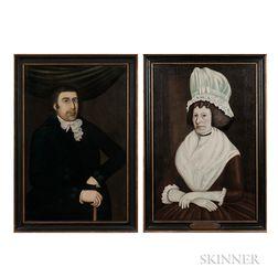 Rufus Hathaway (Massachusetts, 1770-1822)      Portraits of Joshua and Ruth Winsor