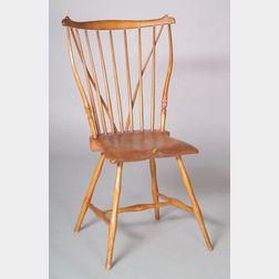 Windsor Chestnut, Maple and Pine Braced Fan-back Side Chair