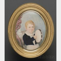 Portrait Miniature of a Boy with a Tambourine