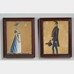 Attributed to Jacob Maentel (American, 1763-1863)    Pair of Portraits of Lydia Anne (Earnst) and Samuel Richardson.