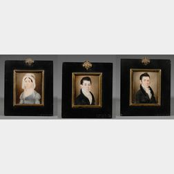 Three Related Family Portrait Miniatures