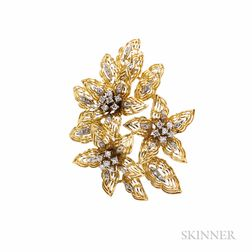 18kt Gold and Diamond Flower Brooch, Bucherer