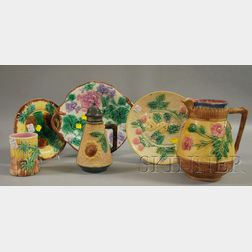 Six Pieces of Griffin, Smith, and Hill Etruscan Majolica Decorated Tableware