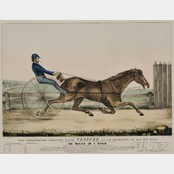 Nathaniel Currier, publisher (American, 1813-1888)      The Celebrated Trotting Horse TRUSTEE as He Appeared in His 20th Mile...