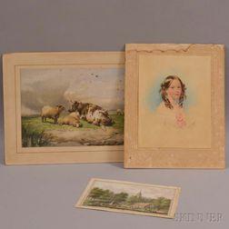 Three European Works on Paper:      Warnaar Horstink (Dutch, 1756-1815), Village Scene with Canal and Distant Steeple