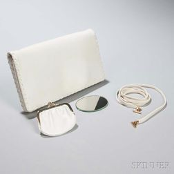 Judith Leiber White Leather Clutch
