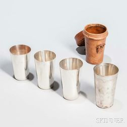 Four Graduated Tiffany & Co. Sterling Silver Beakers