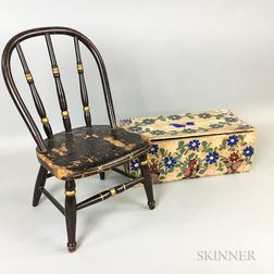 Miniature Windsor Chair and a Floral Paper-covered Storage Box