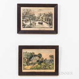 Four Currier & Ives Framed Lithographs of the Four Seasons