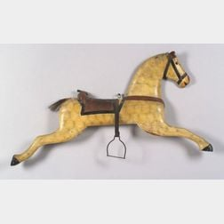 Carved and Painted Wooden Horse Plaque