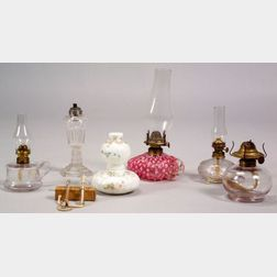 Six Small Glass Fluid Night or Chamber Lamps