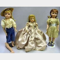 Three Hard Plastic Madame Alexander Dolls