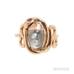 Gold and Moonstone Cameo Ring