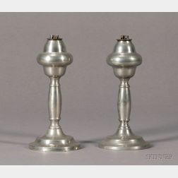 Near Pair of Lozenge-form Pewter Whale Oil Lamps