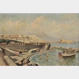 Oscar Ricciardi (Italian, 1864-1935)      Bustling Harbor, Bay of Naples