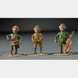Three-piece Cold-painted Bronze Monkey Band with Nodding Heads
