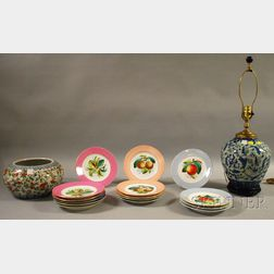 Fifteen French Hand-painted Porcelain Fruit Plates, a Chinese Export Porcelain Bowl   and Modern Jar-form/Table Lamp