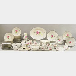 Assembled Set of Meissen Rose-decorated Porcelain Service