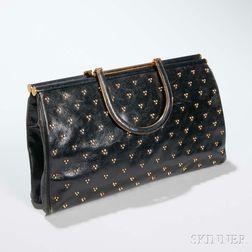 Judith Leiber Black Leather Studded Clutch