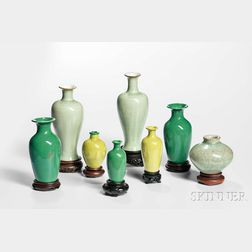 Seven Green-glazed Miniature Vases and a Jarlet