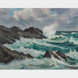 Stanley Wingate Woodward (American, 1890-1970)      Waves Breaking on Rocks