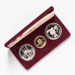1983/4 Los Angeles Olympics Three-coin Proof Set.     Estimate $300-500