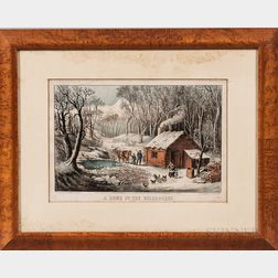 Currier & Ives Lithographs Maple Sugaring   and A Home in the Wilderness