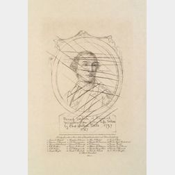 Etching after Charles Willson Peale Depicting a Sketch of George Washington