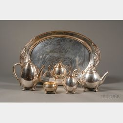 """International Sterling Six Piece """"Spring Glory"""" Tea and Coffee Service"""