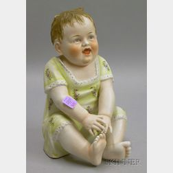 Heubach Attributed Painted Bisque Seated Baby Figure
