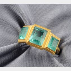 22kt Gold and Emerald Three-stone Ring, Recovered from the Anchor