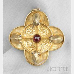 Antique Celtic-style Gold and Garnet Pendant/Brooch