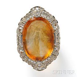 Art Deco Citrine Cameo Cuvette Ring