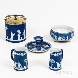 Five Pieces of Wedgwood Blue Jasperware
